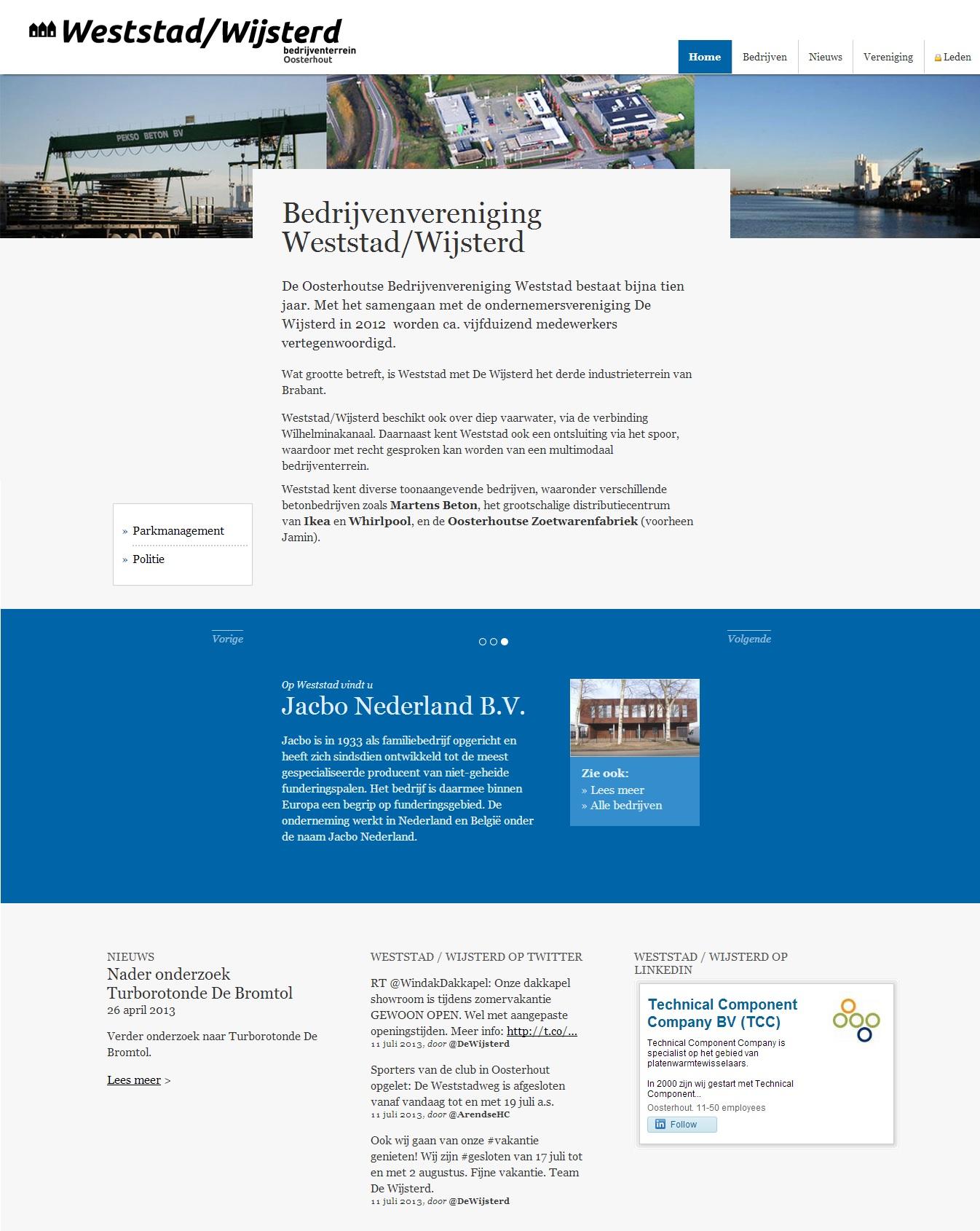 Website bedrijventerrein Weststad / Wijsterd